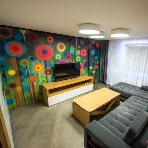 Oryginalną ozdobą salonu jest wykonana z przesuwanych paneli ściana za telewizorem. Projekt: Izabela Frankowicz-Karczewska, Małgorzata Szymonek (Modus Architekci). Fot. Łukasz Botor, Noyosei
