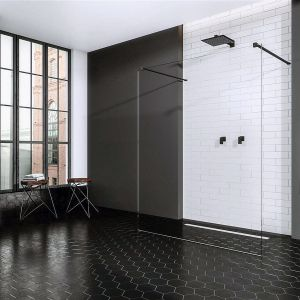 Minimalistyczna kabina typu walk-in Modo New Black I z eleganckimi czarnymi profilami. Dostępna w ofercie firmy Radaway. Fot. Radaway