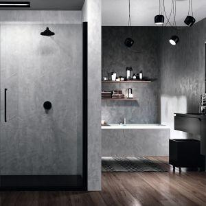 Drzwi prysznicowe skrzydłowe Young 2.0. G+F in line Black z oferty firmy Novellini. Fot. Novellini