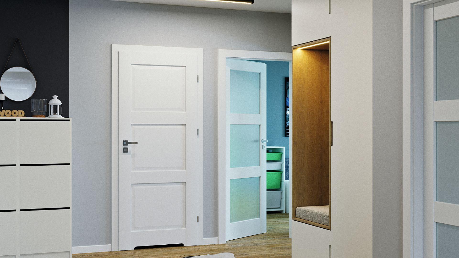 Drzwi z kolekcji Balance emanują niewymuszoną prostotą i delikatnością formy. Występują m.in. w wielu kolorach dębu, również w okleinie Portaperfect 3D doskonale odwzorowującej rysunek naturalnego drewna. Cena: od 712,17 zł (za skrzydło). Dostępne w ofercie firmy Porta. Fot. Porta