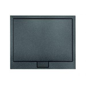 Brodzik prysznicowy Axim z serii Ultraslim z akrylu sanitarnego; dostępny między innymi w wykończeniu imitującym kamień Stone Effect, w kolorach czarnym, antracytowym i białym. Cena: od 442,80 zł (80x80x4.5). Dostępny w ofercie firmy Besco. Fot. Besco