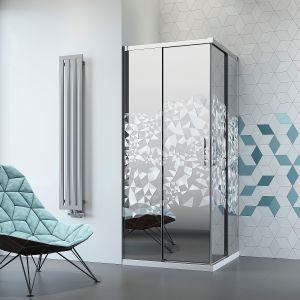 Kabina prysznicowa Idea KDD firmy Radaway dostępna jest między innymi z dekoracyjnym, geometrycznym grawerem Crystal na lustrzanym szkle Mirror. Fot. Radaway