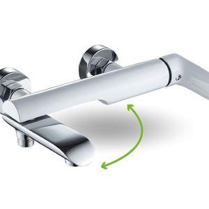 Bateria wannowa ścienna z ruchomą wylewką Laveo Alea. Produkt zgłoszony do konkursu Dobry Design 2019.