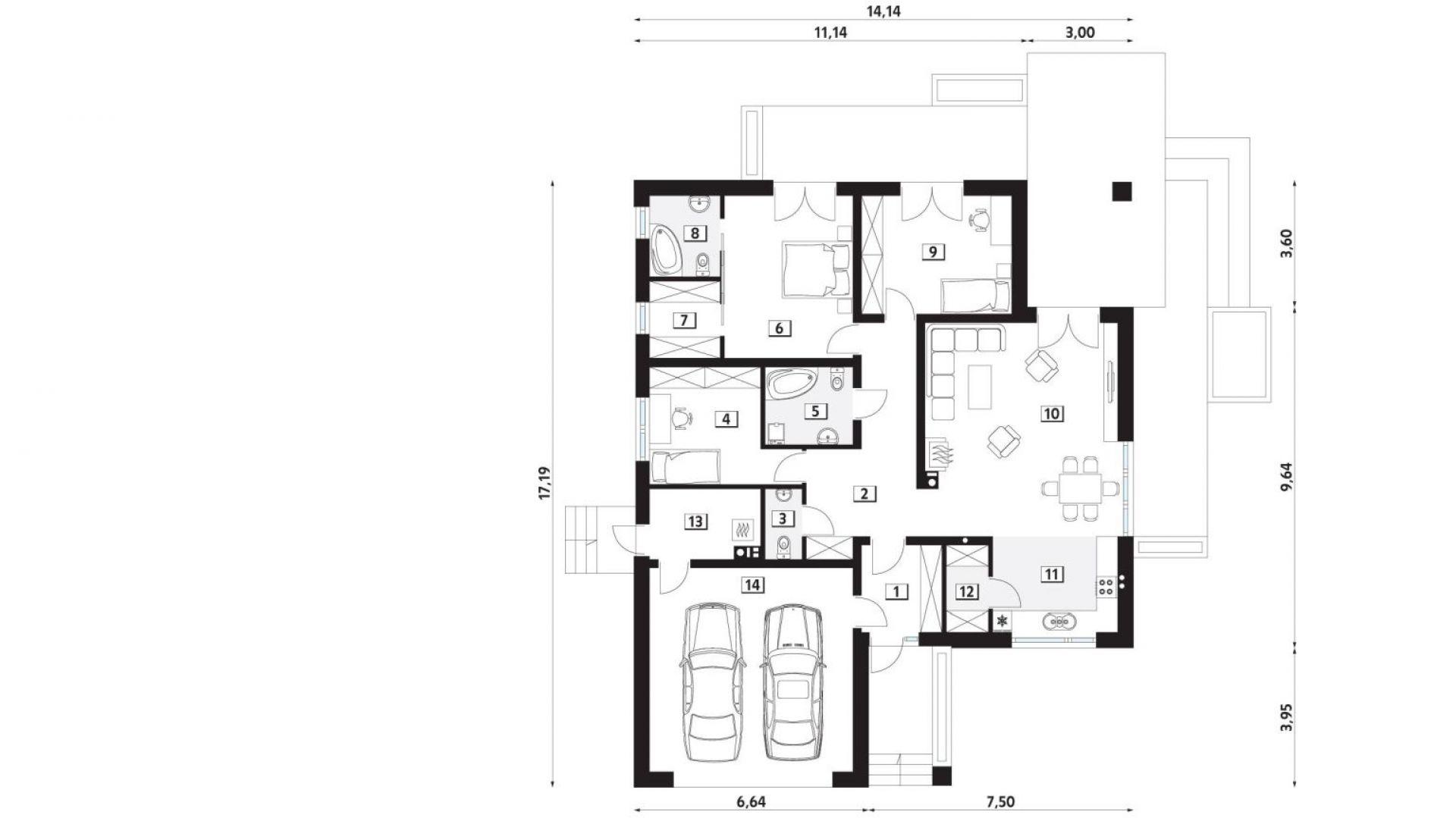 PARTER: 1. wiatrołap - 5,47 2. hol- 13,89 3. wc - 2,01 4. sypialnia - 11,46 5. łazienka - 5,35 6. sypialnia - 16,51 7. garderoba - 4,24 8. łazienka - 4,47 9. sypialnia - 14,08 10. salon + jadalnia - 32,74 11. kuchnia - 9,37 12. spiżarnia - 2,84 13. kotłownia - 5,92 14. garaż - 31,89