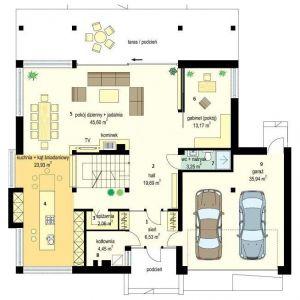 PARTER: 1. sień - 6,53 2. hol - 19,69 3. spiżarnia - 2,06 4. kuchnia + kąt śniadaniowy - 23,93 5. pokój dzienny + jadalnia - 45,60 6. gabinet - 13,17 7. wc + natrysk - 3,25 8. kotłownia - 4,45 9. garaż - 35,94