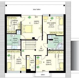 PODDASZE: 1. hol - 12,43 2. sypialnia - 12,38 3. łazienka - 7,15 4. garderoba - 6,29 5. sypialnia - 21,95 6. pokój - 13,60 7. łazienka - 7,28 8. sypialnia - 18,60 9. pralnia - 5,69