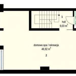 PIWNICA: 1. hol - 9,03 2. domowe SPA (rekreacja) - 46,92 3. wc - 2,34