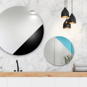 Sunset -  okrągłe lustro inspirowane grafiką lat 50. i 60. dostępne w wielu kolorach/GieraDesign. Produkt zgłoszony do konkursu Dobry Design 2019.