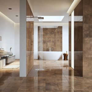 Nowoczesna łazienka total look - wybieramy kolor. Kolekcja apenino rust lappato. Fot. Cerrad
