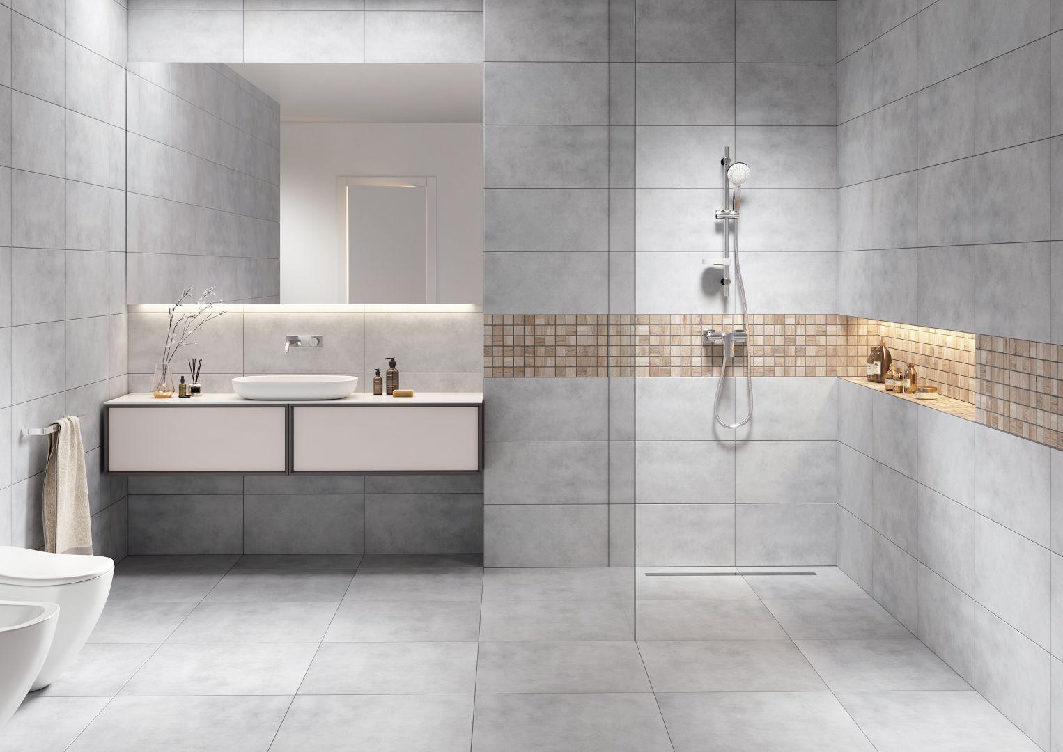 Nowoczesna łazienka total look - wybieramy kolor. Kolekcja mattina mozaika sabbia. Fot. Cerrad