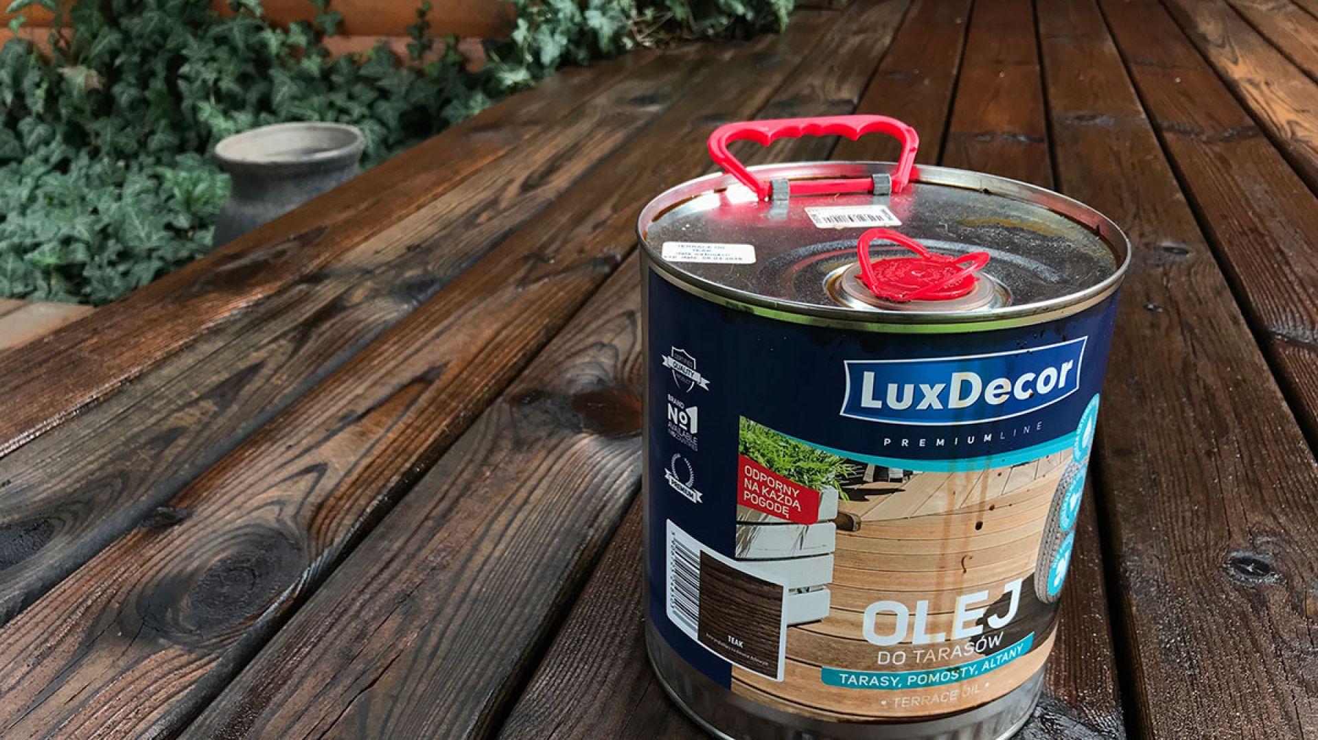 Olej do tarasów LuxDecor Premium/Primacol. Produkt zgłoszony do konkursu Dobry Design 2019.