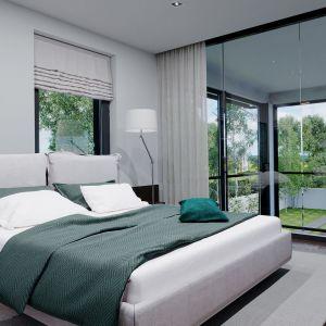 Zaprojektowano tutaj apartament składający się z sypialni, niewielkiej garderoby oraz prywatnej łazienki. Dom HomeKONCEPT 60. Opracowanie projektu i zdjęcia: Pracownia HomeKONCEPT