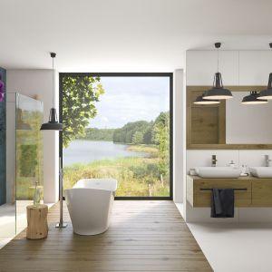 Pojedyncza ścianka prysznicowa Walk-in Massi dostępna w różnych szerokościach: od 70 do aż 130 cm. Projekt łazienki Modus Architekci, www.modus-architekci.pl. Fot.  Massi
