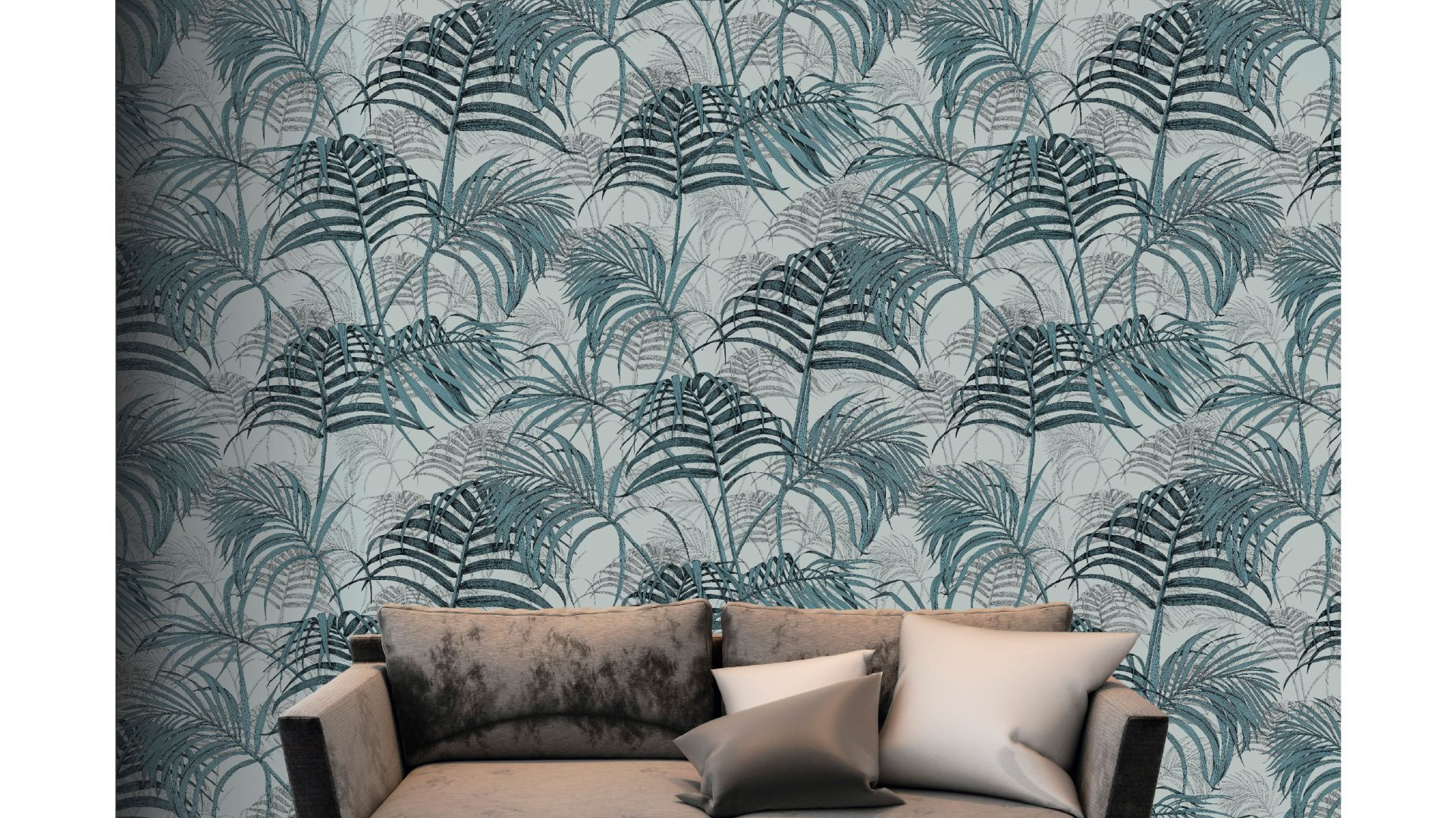 Kolekcja eleganckich tekstylnych tapet ściennych Fardis Muraspec zainspirowana mitycznym światem Shangri La. Estetyczną osią kolekcji są metafory kwiatowe, bajeczne w swoich formach i barwach. W serii także modny wzór palmowych liści (tapeta Maui) – jako symbol tropikalnego raju na Pacyfiku. Fot. Muraspec