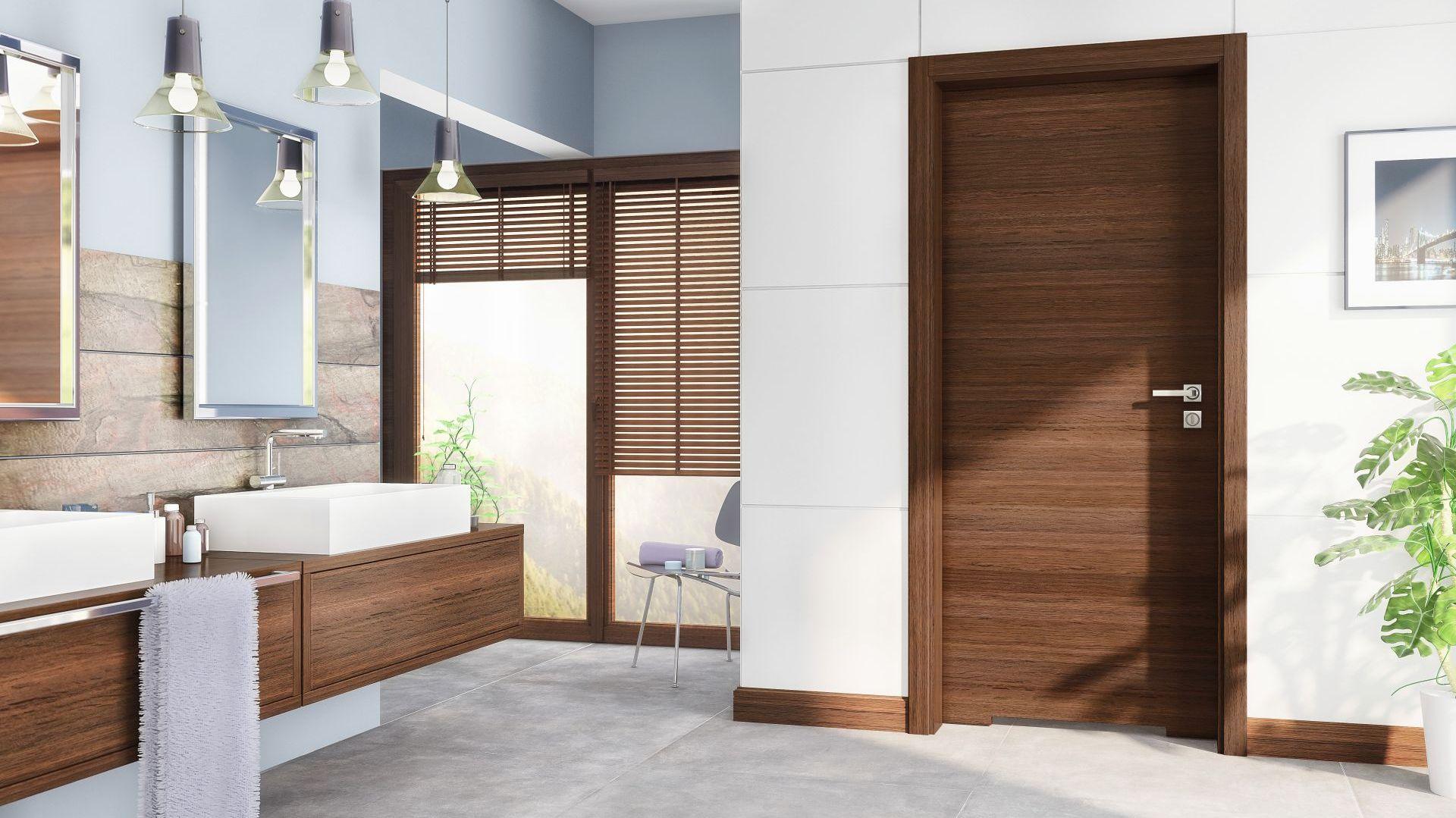 Drzwi Trendy wyposażone są w blokadę łazienkową oraz podcięcie wentylacyjne. Dolny ramiak skrzydła można zabezpieczyć przed nadmiernym działaniem wilgoci. Fot. Pol-Skone