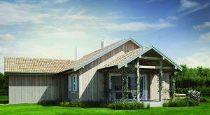 Projekt domu o powierzchni użytkowej 112 metrów kwadratowych jestkompaktowy, bezpretensjonalny i funkcjonalny. Dodatkowo można wybrać go w wersji murowanej lub drewnianej.