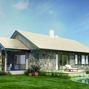 Dom N14 z propozycje elewacji wykończonej kamieniem. Projekt: arch. Sylwia Strzelecka. Fot. S&O Projekty Sylwii Strzeleckiej