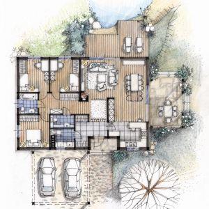 Rzut domu. PARTER: 112,45 m2  1. sień z szatnią – 7,16 m2 2. hol – 5,67 m2 3. kuchnia – 9,09 m2 4. salon z jadalnią – 38,92 m2 5. przedpokój – 9,14 m2 6. pokój – 10,29 m2 7. pokój – 10,29 m2 8. łazienka – 4,03 m2 9. sypialnia – 10,29 m2  10. wc – 3,21 m2  11. pom. gospodarcze – 4,36 m