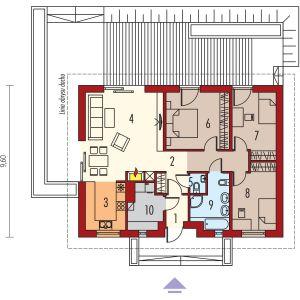 PARTER: 1. wiatrołap - 2,25 2. hol - 9,58 3. kuchnia - 7,74  4. pokój dzienny + jadalnia - 27,04 5. toaleta - 1,29 6. sypialnia - 14,23 7. sypialnia - 11,00 8. sypialnia - 11,00 9. łazienka - 6,84 10.  kotłownia - 5,47