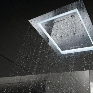 Głowica prysznicowa Aqua Symphony pozwalająca na kompozycję unikatowej symfonii aż 6 różnych strumieni: Rain, AquaCurtain, Waterfall XL, Drizzle, Bokoma oraz Pure. wymiary: 1016x762 mm. Cena: ok. 2.000 zł. Fot. Grohe