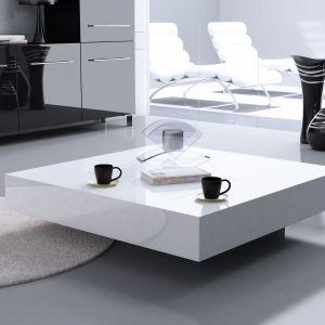 Nowoczesny salon - stolik kawowy magic biały. Fot. Rosanero