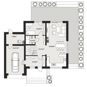 PARTER: 1. wiatrołap - 9,43 2. hol - 13,31 3.  salon + jadalnia + kuchnia - 39,56 4. wc - 3,51 5. sypialnia - 10,69 6. kotłownia - 7,98 7. garaż - 22,51
