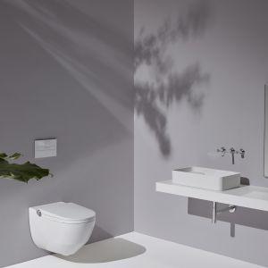 Toaleta myjąca Laufen Cleanet Riva miską w.c. Rimless oferuje m.in. różne funcje mycia oraz funkcję automatycznego oczyszczania powietrza. Fot. Laufen