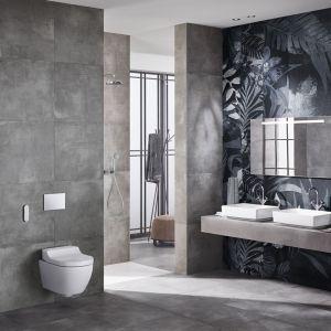 Toaleta myjąca AquaClean Tuma wyposażona jest w opatentowaną technologię natrysku WhirlSpray oraz intuicyjny pilot zdalnej obsługi; dostępna również jako deska myjąca. Fot. Geberit