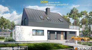 """""""Dom w dipladeniach"""" to projekt będący idealnym połączeniem nowoczesnych trendów, funkcjonalnych rozwiązań przestrzennych i ekonomicznej realizacji. Efektowne wykończenie zewnętrzne nadaje prostej formie bryły interesujący i wyjątkowy wygl"""
