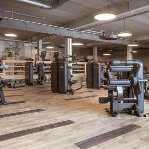 Podłogi winylowe Pergo są bardzo odporne na wgniatanie i potencjalne uszkodzenia, dlatego znakomicie sprawdzą się w fitness klubach. W realizacji na zdjęciu ze względu na walory jakościowe i techniczne zrezygnowano z pierwotnie zaplanowanej podłogi drewnianej i zastąpiono ją podłogą winylową Pergo z kolekcji Modern Plank. Fot. Pergo