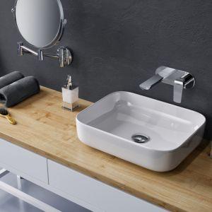 Cori –  ceramiczna umywalka nablatowa o cienkich krawędziach. (38,5x38,5 cm). Fot. Excellent