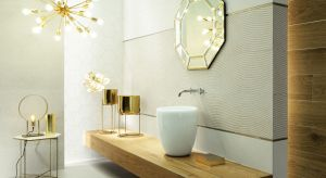 We wnętrzach łazienek coraz częściej wykorzystuje się wszechstronne możliwości jakie daje wykorzystanie metali. Szczególnie złote dekoracje, umiejętnie zestawione z pozostałymi elementami wykończeniowymi, pozwalają uzyskać wyjątkowy, wytwor