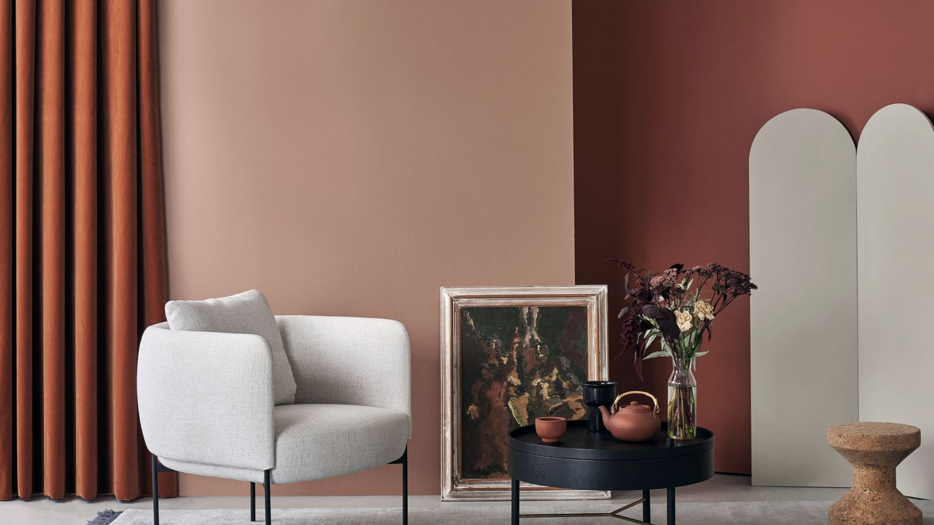 Kompozycja odcieni N405 Terracotta i S471 Etruscan z palety farb Tikkurila Minerals. Fot. Tikkurila