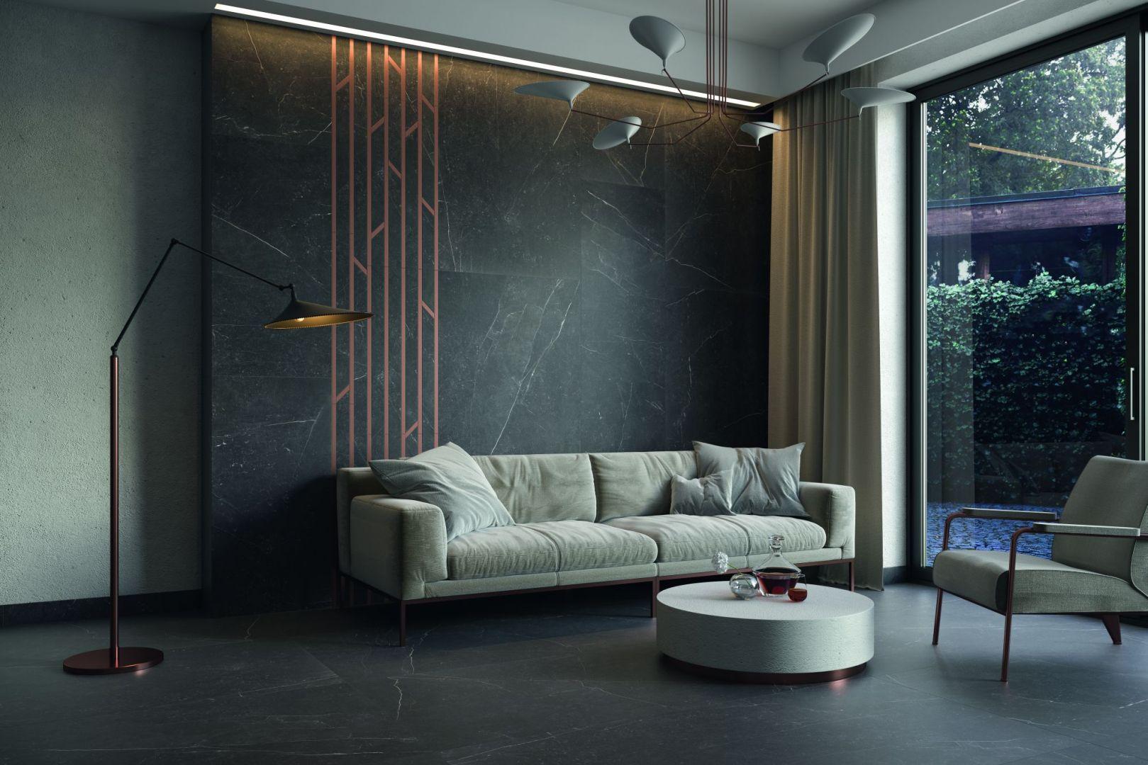 Kolekcja Barro inspirowana naturalną elegancją czarnego kamienia umożliwia wykreowanie wytwornej i stonowanej przestrzeni. Fot. Ceramika Paradyż