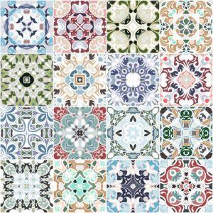 Zestaw 28 winylowych naklejek Old Beauty w kształcie modnych heksagonów. Fot. Ambiance/Bonami.pl