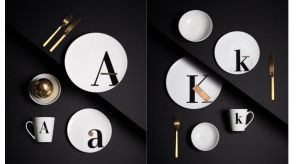 Prawdziwe złoto wykorzystane do zdobienia, akcentuje szlachetność kolekcji. Złoto podkreślające czerń liter, idealnie współgra z bielą porcelany.