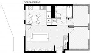 Układ funkcjonalny mieszkania po remoncie. Projekt i nadzór Monika Staniec.