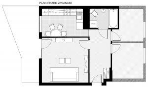 Układ funkcjonalny mieszkania przed remontem. Projekt i nadzór Monika Staniec.