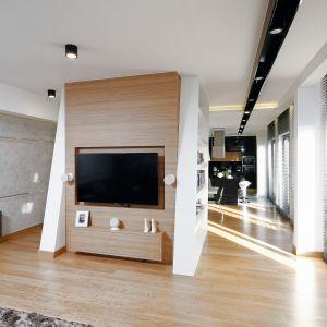 Efektownie zaaranżowana ściana telewizyjna może stać się prawdziwą ozdobą salonu. Projekt: Monika i Adam Bronikowscy. Fot. Bartosz Jarosz 7. Fot. Kuśmierek