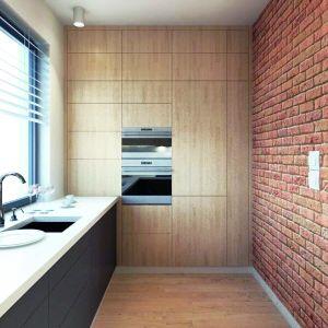 Kuchnie od jadalni i salonu odseparowano ścianką w cegle. Dom Malutki dr-S. Projekt: arch. Tomasz Sobieszuk. Fot. Domy w Stylu