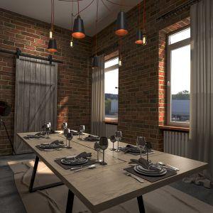 Nad stołem obowiązkowa jest lampa w minimalistycznych metalowych oprawach. Fot. Mebin