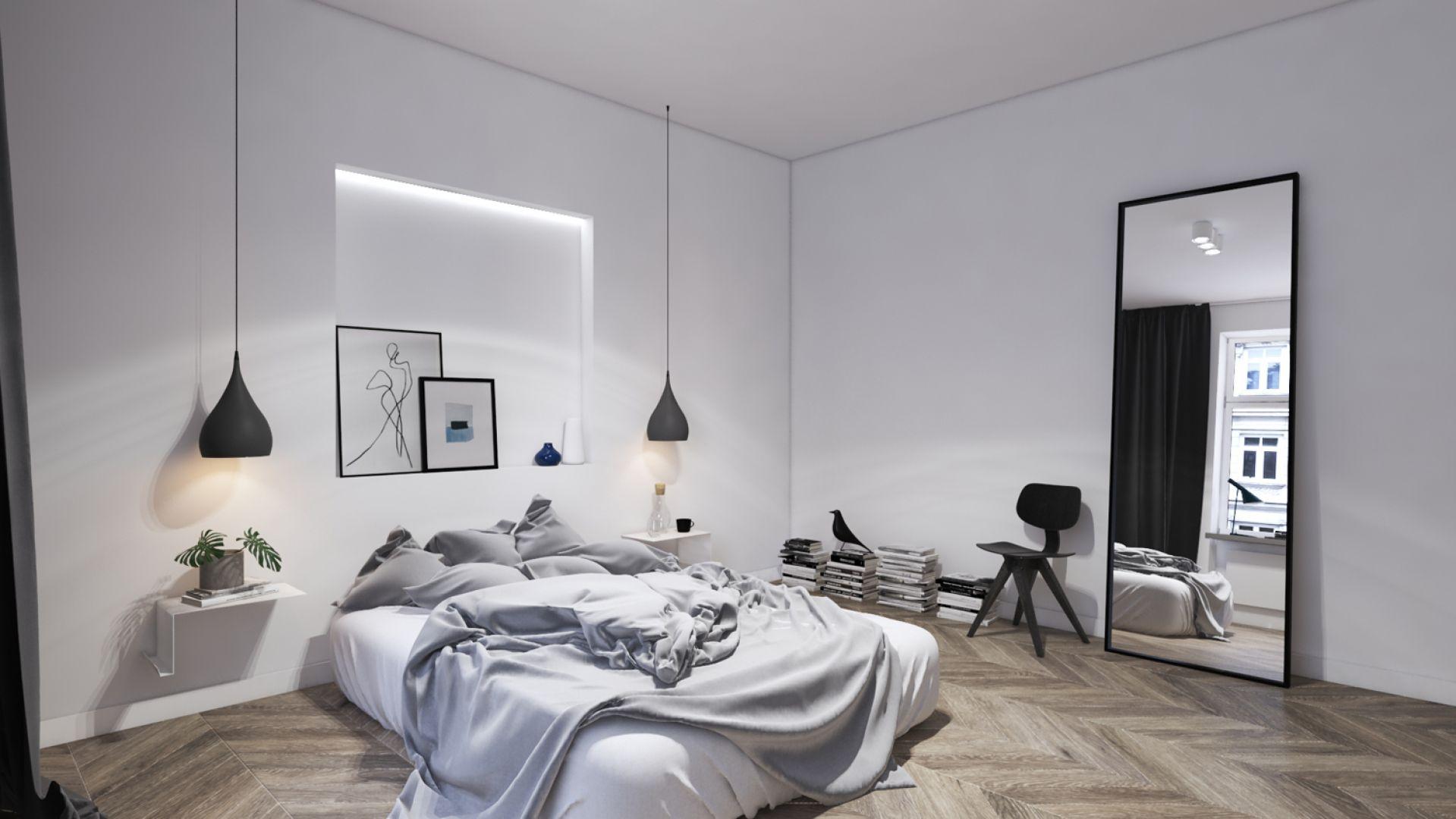 Piękna sypialnia w kamienicy. Projekt: Kosakowski Studio