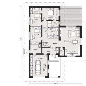 PARTER: 133,01 m2 1. wiatrołap – 7,12 m2 2. hol – 8,88 m2 3. wc – 1,90 m2 m2 4. korytarz – 8,48 m2 5. pokój – 12,00 m2 6. pokój – 12,07 m2 7. pokój – 14,93 m2 8. garderoba – 4,69 m2 9. łazienka – 4,74 m2 10. łazienka – 6,53 m2 11. salon + jadalnia – 31,49 m2 12. kuchnia – 10,04 m2 13. spiżarnia – 2,62 m2 14. kotłownia – 4,52 m2 15. garaż* – 27,84 m2 *pomieszczenia niewliczone do powierzchni użytkowej Dom Nika 4. Projekt: arch. Rafał Zdanowicz, arch. Tomasz Siemieniuk. Fot. Archetyp