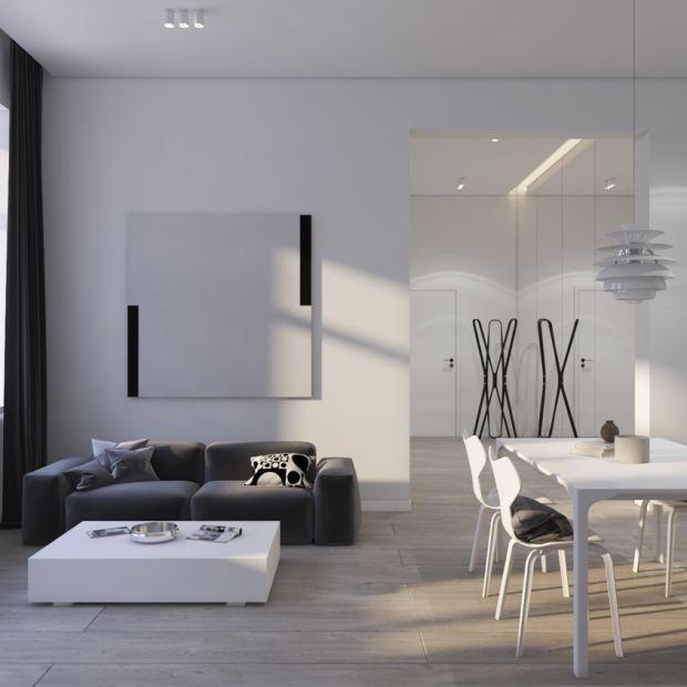 Nowoczesne wnętrze: piękny projekt w czerni i bieli