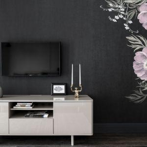 Biała, lakierowana szafka RTV efektownie prezentuje się na czarnym tle ściany. Projekt: JT Grupa. Zdjęcia: Foto&Mohito