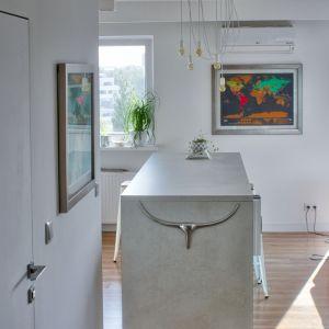 W całym mieszkaniu zastosowano modne, industrialne oświetlenie w postaci żarówek rozpiętych na białych linkach oraz wolnostojącej minimalistycznej lampy. Projekt: Barbara Uherek-Bradecka (Studio BB Architekci). Fot. Paweł Nawrot