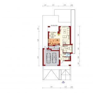 PARTER: 1. wiatrołap - 4,63 2. hol + schody - 15,28 3. kuchnia - 8,89 4. spiżarnia - 1,16 5. jadalnia - 9,56 6. pokój dzienny - 18,37 7. toaleta - 2,37 8. gabinet - 9,28 9. kotłownia - 6,35 10. garaż - 33,55