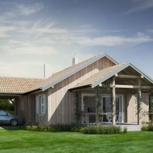 Dom z wiatą. Dom N14 D. Projekt: arch. Sylwia Strzelecka. Fot. S&O Projekty Sylwii Strzeleckiej