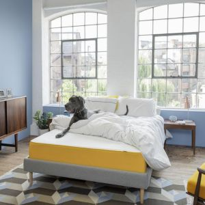 Łóżko eve wykończone elegancką włoską wełną w stylowym zestawieniu z nogami z litego drewna jesionowego. Fot.  eve Sleep