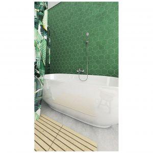 Nowoczesna łazienka w kolorem zielonym w roli głównej. Fot. Ferro